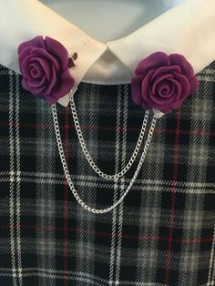 Purple Rose Collar Clips by MiniSugarMouse on Etsy