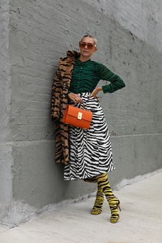 Blair Eadie wearing head-to-toe animal stripes // Tiger stripes plus zebra stripes // Expect to see more animal prints and animal stripes this fall on Atlantic-Pacific Animal Print Outfits, Animal Print Fashion, Fashion Prints, Animal Prints, Fashion Week, Look Fashion, Autumn Fashion, Fashion Outfits, Womens Fashion