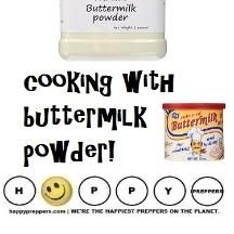 Using buttermilk powder to give you the same creamy goodness of the traditional stuff is easy and you don't even need to reconstitute it. You can use powdered buttermilk with the dry ingredients! Here's how to cook with buttermilk powder. Prepper Food, Survival Food, Emergency Preparedness, Survival Tips, Survival Skills, Hurricane Preparedness, Wilderness Survival, Buttermilk Recipes
