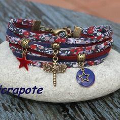 Bracelet liberty et suédine cordon 2 tours _ breloque libellule _ bronze bordeaux marine _ femme retro vintage