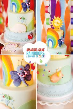 """rainbow cake inspired by the children's book """"Raindrops: A Shower of Colors"""""""