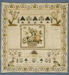 WORK 34 (TEXTILES COLLECTION) Jane Wilkinson, needlework sampler, silk on linen ground, 1823. All images © Whitworth Art Gallery, The University of Manchester.