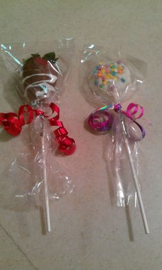 Chocolate covered strawberries and chocolate covered oreos on a stick ...