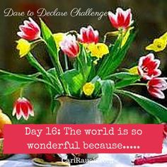 Dare to Declare 30 day Challenge Day 16: The world is so wonderful because.... It's a 30 day challenge to declare what we love & enjoy about ourselves, our lives and the world. Complete the phrase in the comments below - so we can celebrate together.
