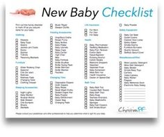 Printable Baby Checklist | Click here for a printable Baby ...