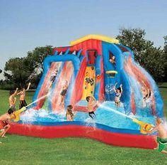 Swimming Pool Above Ground Water Slide Inflatable Kids Fun Family Bouncy Yard Water Slide Bounce House, Blow Up Water Slide, Kids Water Slide, Kids Slide, Outdoor Toys, Outdoor Fun, Backyard Water Parks, Water Slides Backyard, Inflatable Water Park