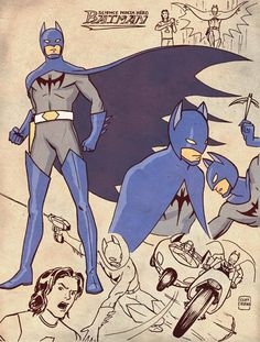 Science Ninja Hero Batman from Cliff Chiang's Justice League of Japan concept illustrations!