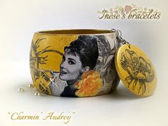 Bangle Bracelet with Audrey Hepburn + free matching earrings by HandmadeDecoupage, $54.00