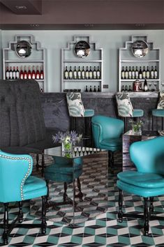 flooring, pop of color, back bar shelving, Hispania Restaurant London | Lorenzo Castillo