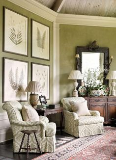 Muted lime green living room with damask chair and framed pressed botanicals -- interior design: Francie Hargrove