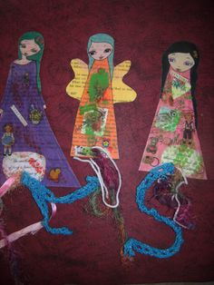 Paper Dolls Laminated Bookmarks with ribbons 2 by eltsamp on Etsy, $28.00