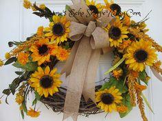 RUSTIC SUNFLOWER WREATH.....Sunflower Door Wreath...Fall Door Wreath...Sunflower Decor Door Wreath...Autumn Door Decor Wreath..Housewarming by AutumnsEchoShoppe on Etsy