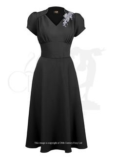 40s Victory Swing Dress Black