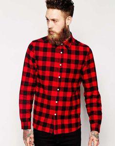 ASOS | Shirt In Long Sleeve With Brushed Buffalo Plaid #asos #plaid #shirt