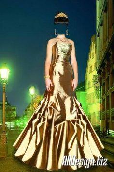 Шаблон девочка в золотом платье фотошоп