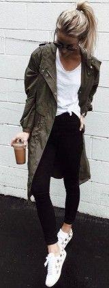 long khaki jacket + black and white outfit #fall #fashion