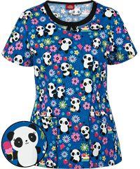Dickies EDS Signature Scrubs Panda Picnic Round Neck Print Top