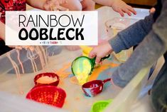 Rainbow Oobleck: a messy sensory activity to play with friends