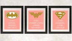 Girl Superhero Bathroom // Girl Bathroom Art // by NothingPanda