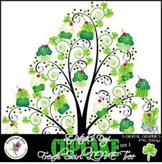 $4.95 INSTANT DOWNLOAD St Patricks Day Green Cupcake French Swirl Tree set 1 with 9 gorgeous swirly trees green cupcakes shamrock charms pet tags