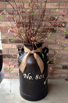 Flower and Branch Milk Can Decoration