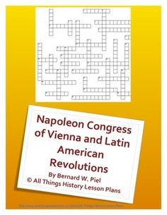 This crossword puzzle covers the Neolithic Revolution and early civilizations as either test prep or as assessment. This crossword puzzle tests students' knowledge on words such as agriculture, bantu, Hammurabi, nomadic, domestication and more. Congress Of Vienna, History Lesson Plans, World History, European History, American History, Classical Period, Classical Greece, Crossword Puzzles, Industrial Revolution