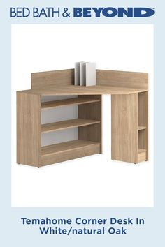 A great space-saving piece that will be the place where you get things done, the Temahome Corner Desk offers an abundance of open shelving to stay organized. Desk in a nautral finish can be placed in a right-angle corner. Space Saving Furniture, Find Furniture, Oak Beds, Wall Desk, Vertical Storage, Home Office Decor, Home Decor, Adjustable Shelving, Open Shelving