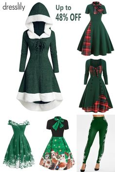 Vintage Dresses - Retro & Vintage-Inspired Dresses -Winter Outfit Ideas - How to Dress This Winter - Winter Fashion Trends - Fashion Ideas for Cold Weather. #dresslily #green #vintagedress #Christmas #Xmas #newyear