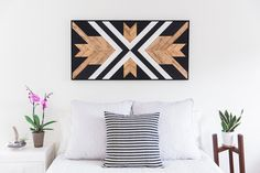 Reclaimed Wood Wall Art, White Black and Gold Modern Design, Native American Style