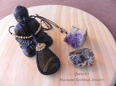 Macramé Pendant with mexican STROMATOLITE. Spiritual Jewelry.