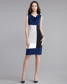 Milano Knit Colorblock Dress by St. John Collection at Neiman Marcus.