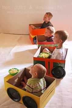 Drive-in movie night for the boys - card board box cars, popcorn & red box!  ... Costco here WE COME .. we need some BOXES! <3