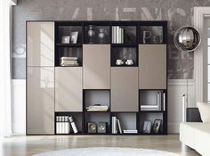 Contemporary wood or high gloss cabinet and shelving unit