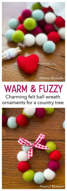 These warm and cozy felt ball wreath ornaments are perfect for a country Christmas look. Such a simple sewing project for beginners or a kid craft idea for homemade gifts. A sweet gift idea for grandparents or a gorgeous gift topper to make it extra personal. #christmasornaments #DIYChristmas #Christmascrafts