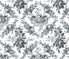 Lady Mary's Roses Black Floral Toile custom fabric by grafixmom for sale on Spoonflower