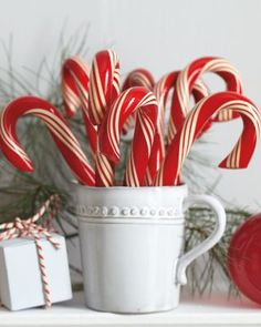 Candy Canes- Use regular candy canes and white mugs from Dollar tree. If I can keep from eating all the candycanes!