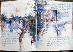 Neil Watson at Renaissance Art Moleskine, Sketchbook Layout, Sketchbook Inspiration, Watercolor Journal, Watercolor Sketch, Artist Journal, Art Journal Pages, Visual Journals, Travel Journals