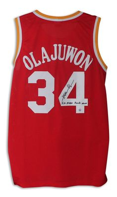 Hakeem Olajuwon Houston Rockets Autographed Red Jersey Inscribed