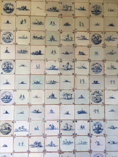 Arts and craft tiles at Standen house and garden. Delft style blue and white tiles, each tile is individual.