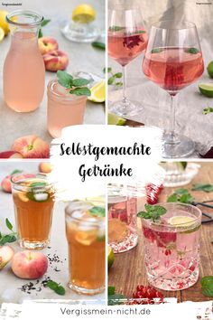 Selbstgemachte Getränke Perfect for the summer self-made drinks with alcohol and non-alcoholic. Quickly prepared for a party, a meal or a delicious dinner. I have many different recipes for cocktail, iced tea, soda and Schorle for you. Infused Water Recipes, Fruit Infused Water, Easy Drink Recipes, Cocktail Recipes, Green Tea Detox, Vegetable Drinks, Healthy Eating Tips, Fabulous Foods, Different Recipes