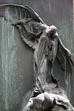 Be careful! An Angel! :P ― Neale Donald Walsch-- art, Vyšehrad Cemetery, Prague Cemetery Angels, Cemetery Statues, Cemetery Art, Angels Among Us, Angels And Demons, Statue Ange, Old Cemeteries, Graveyards, Postmodernism