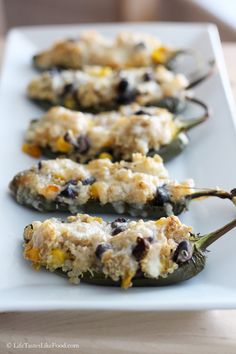 Homemade Jalapeno Poppers Stuffed with Quinoa, Black Beans, and Corn