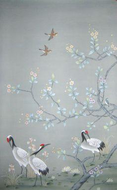Chinoiserie Handpainted Silk Wallpaper: Cranes Alight