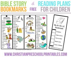 Bible Story Bookmarks with Reading Plan for Kids