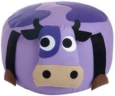 3 sprouts seat, so cute Bean Bag Chairs Canada, Baby Bean Bag Chair, 3 Sprouts, Cow Toys, Cool Bean Bags, Purple Cow, Leather Chair With Ottoman, Wooden Dining Room Chairs, Cow Pattern