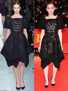 black valentino skirt - structured with jagged edges.  sheer patterning.  hair pulled tightly back, black pumps and natural makeup.