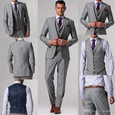 Best Selling Gray Wedding Men Suits Business Suit Bridegroom Groom ...