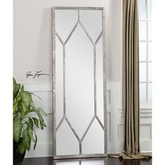 Sarconi Distressed Silver Oversized Mirror Uttermost Rectangle Mirrors Home Decor