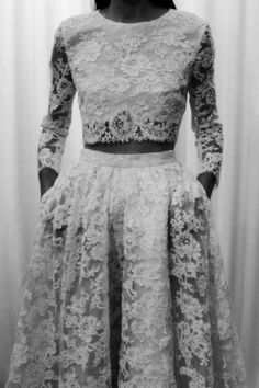 Elegant Romantic Fashion - two-piece lace dress with crop top & skirt