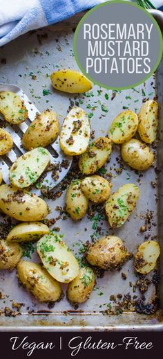 Looking for a twist on plain old potatoes? This easy vegan, gluten-free recipe for Rosemary-Mustard Potatoes takes only 5 minutes to assemble! Delish!